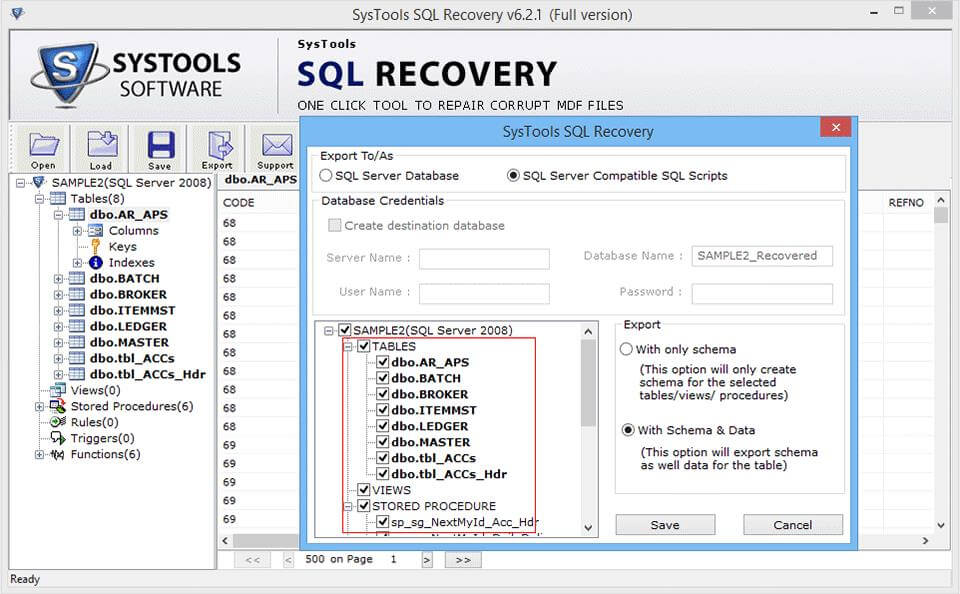 Export SQL Selective Files