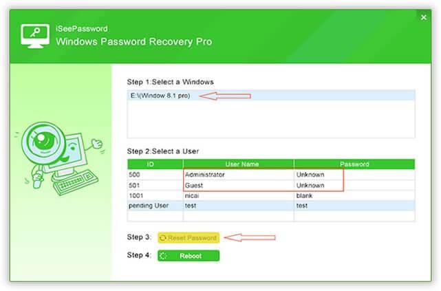 Resetting password using iSeePassword
