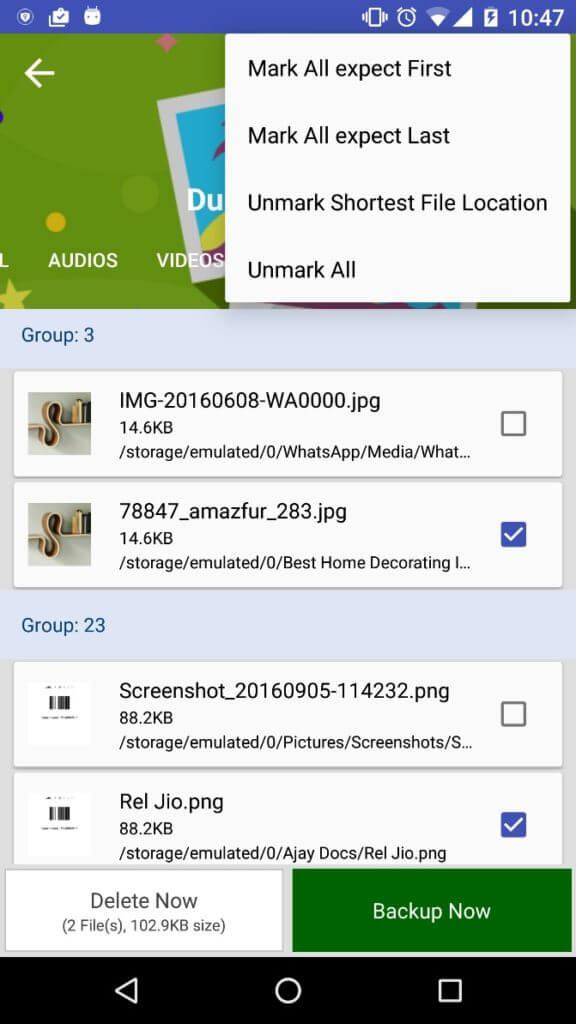 Unmark Shortest File Location