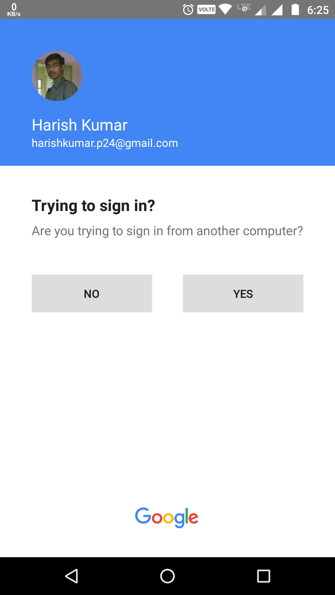 Google prompt sign in on smartphone