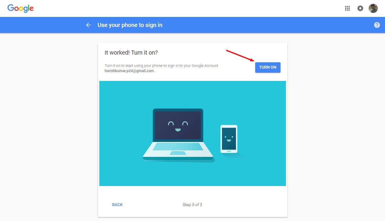 Google Smartphone sign in setup screen