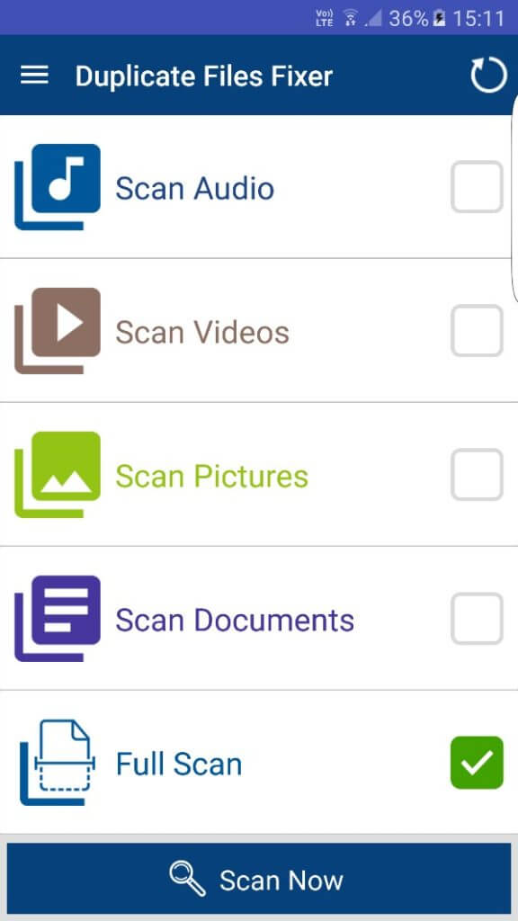 select scan type in duplicate files fixer