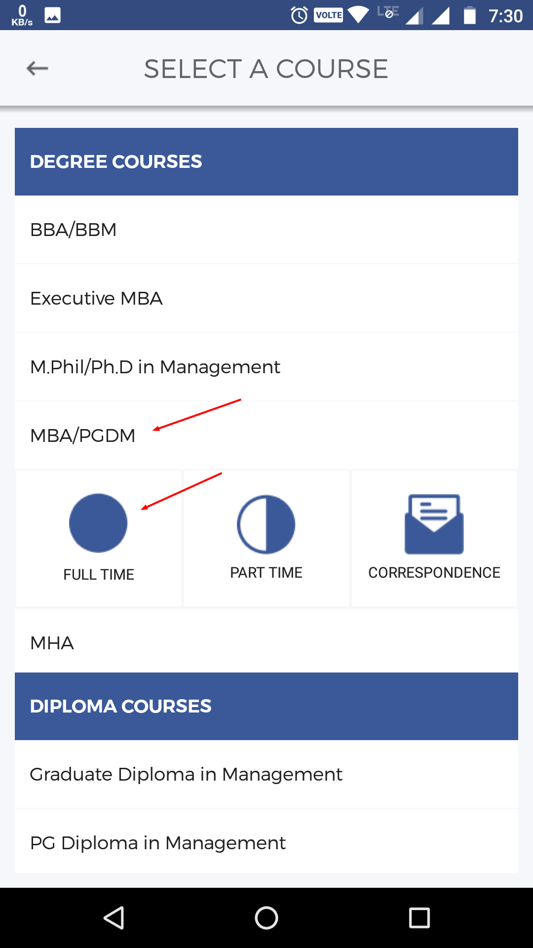 Collegedunai homepage choose course