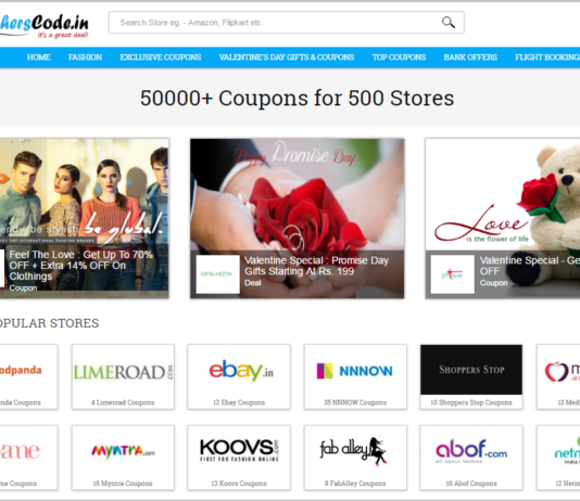 Voucherscode home page