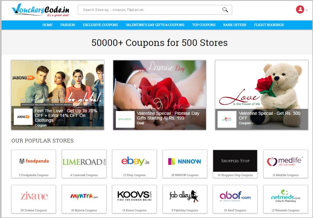 Voucherscode home page