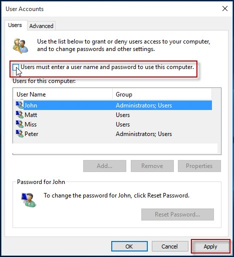 User account option in Windows 10