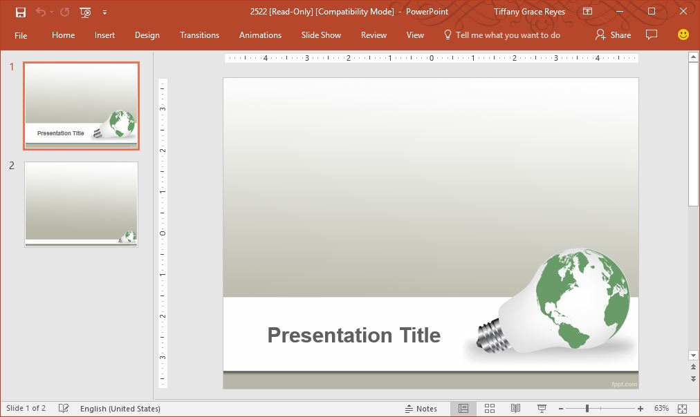 green earth idea powerpoint template