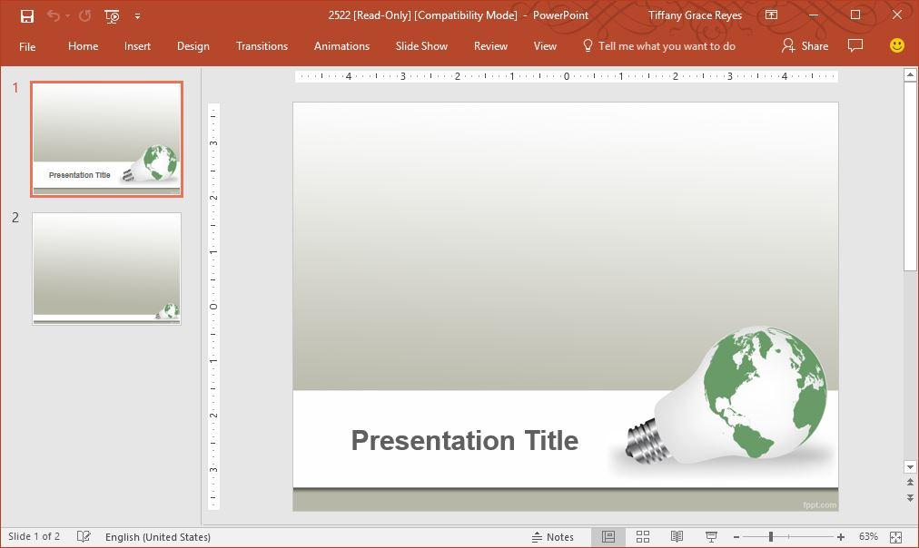 green earth idea powerpoint template
