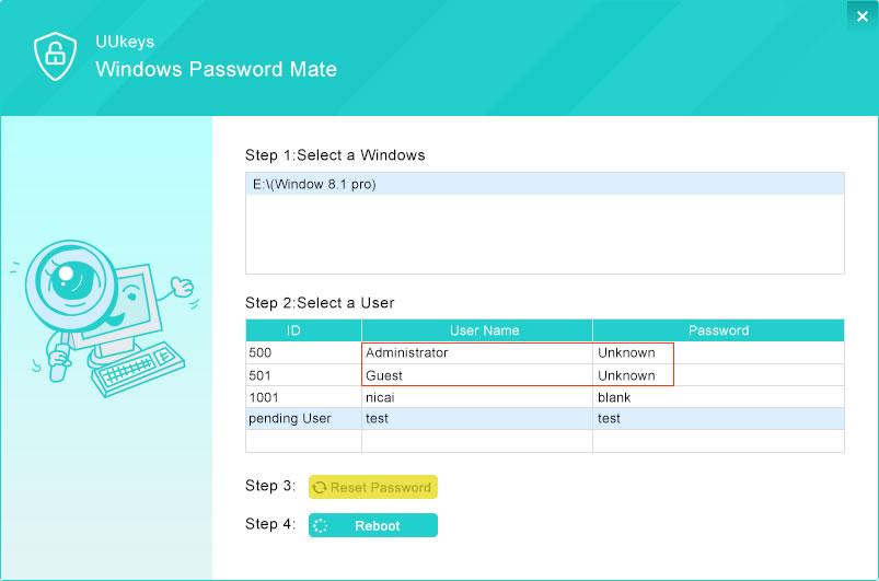 start to reset windows 7 password