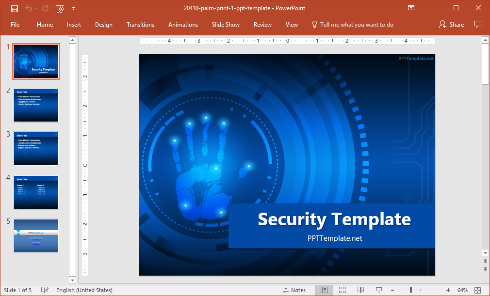 Security palm print powerpoint template