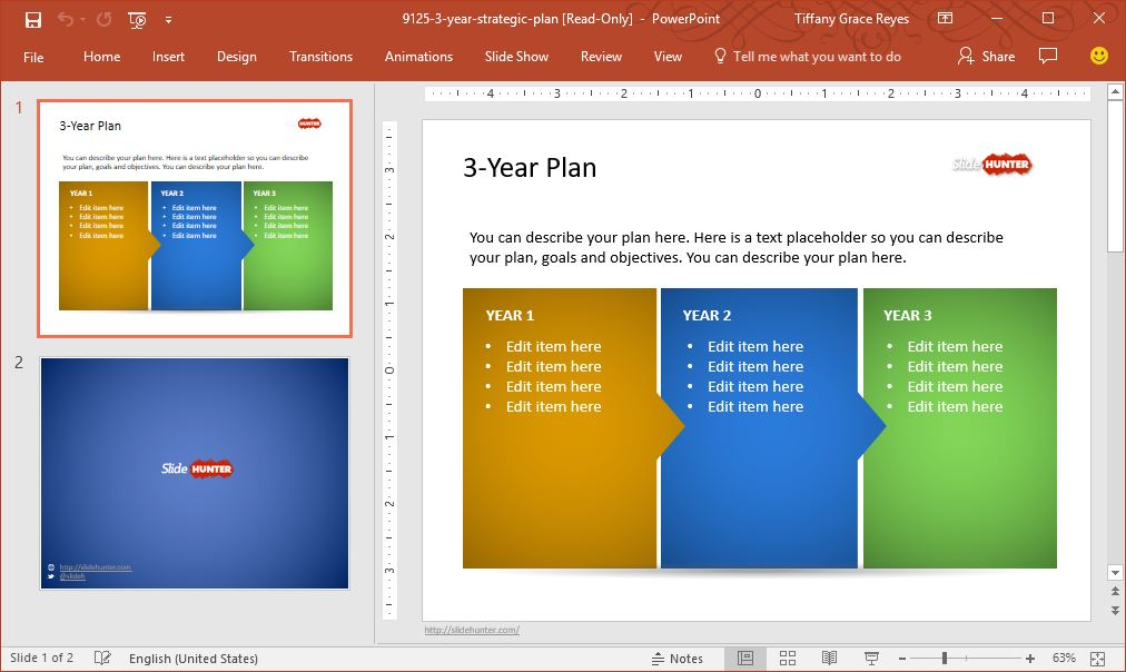 three year strategic plan template - create high impact project presentations with slidehunter