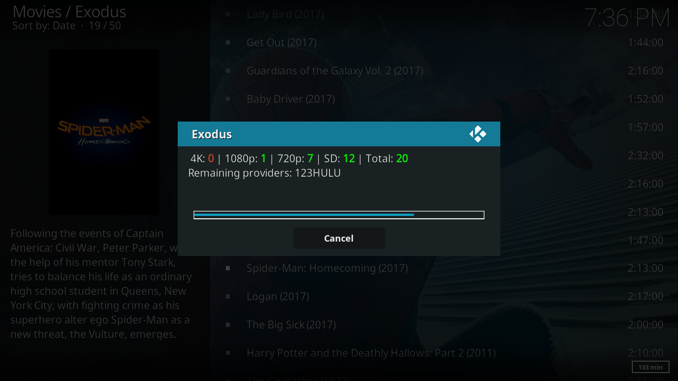 Kodi Exodus loading pop up