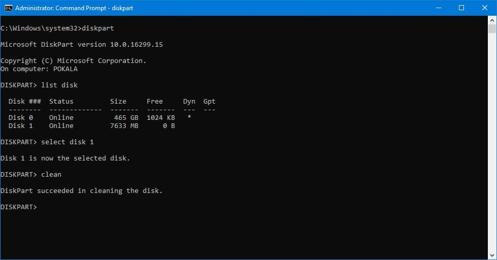 clean disk using CMD