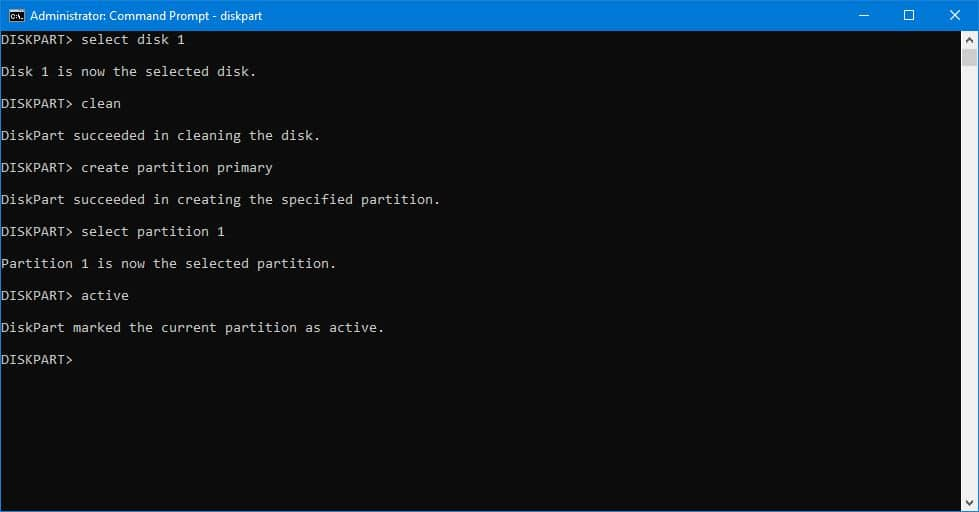 partition active using CMD