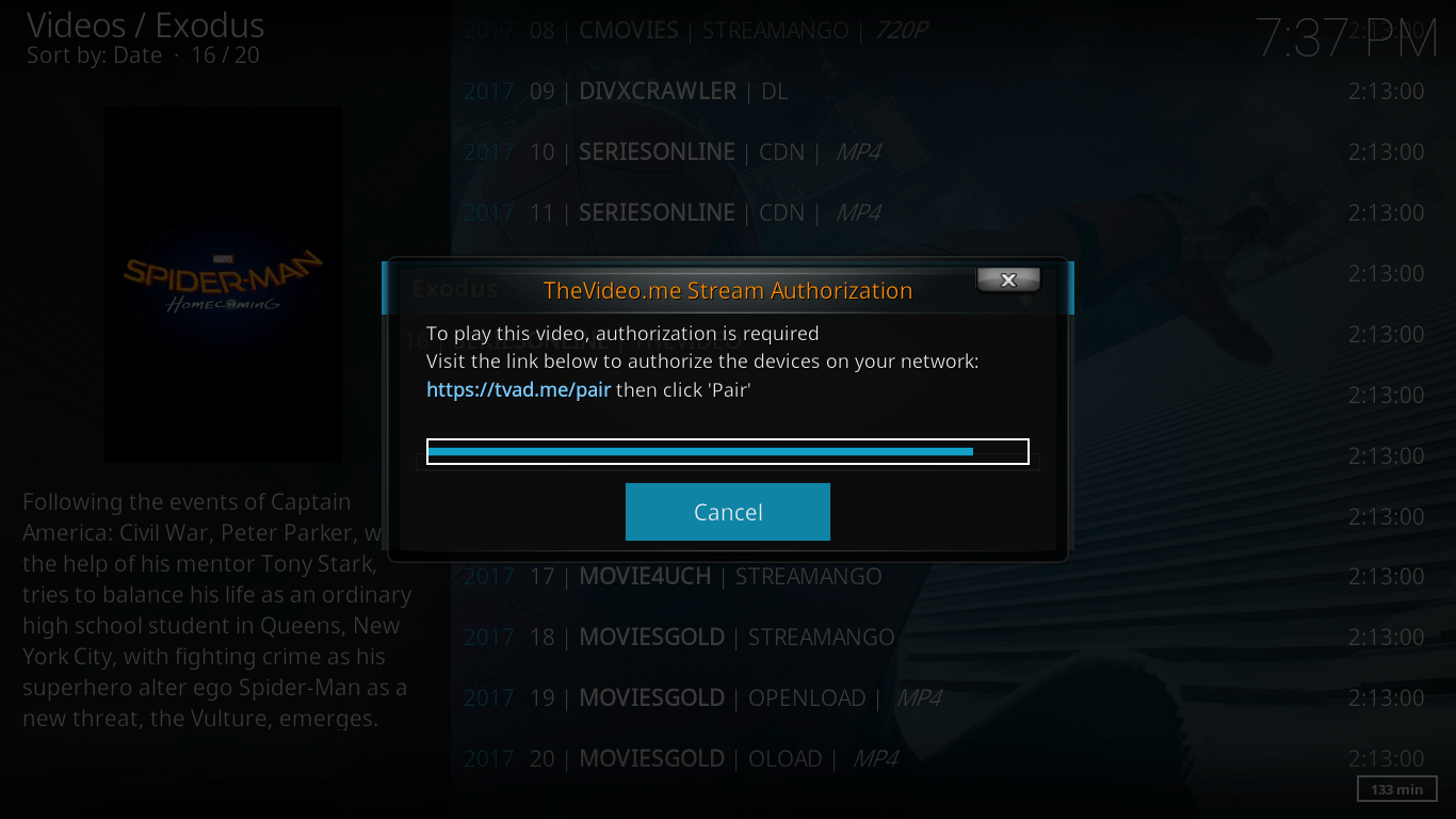 the video.me stream authorization prompt