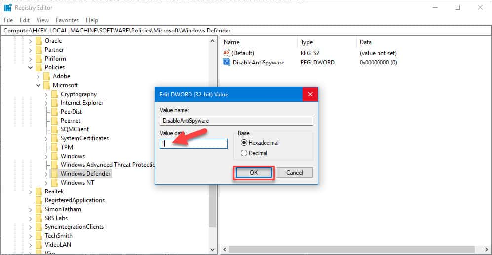 disable windows defender registry editor