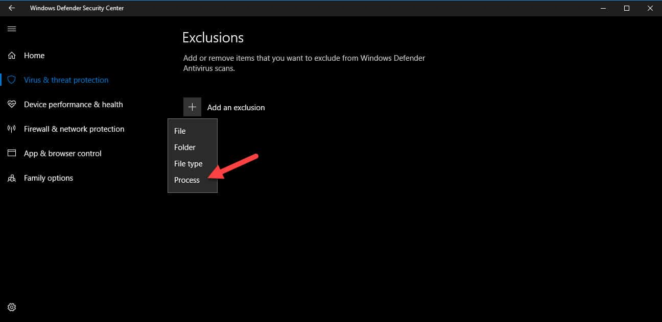 exclude process in windows defender
