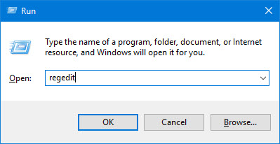 regedit in Windows 10 run tool