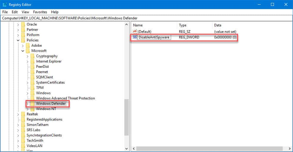 registry variable to disable windows defender