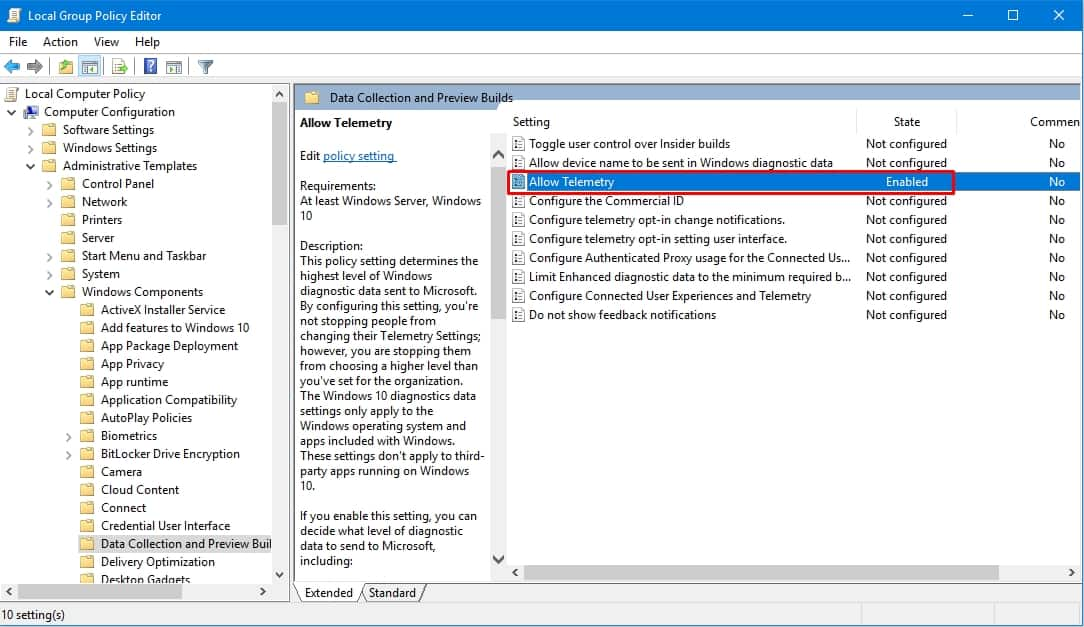 allow telemtry in enabled in group editor windiows 10
