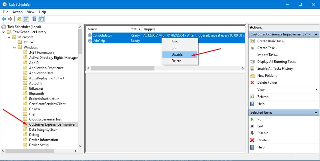disable customer experinece improvement in task scheduler