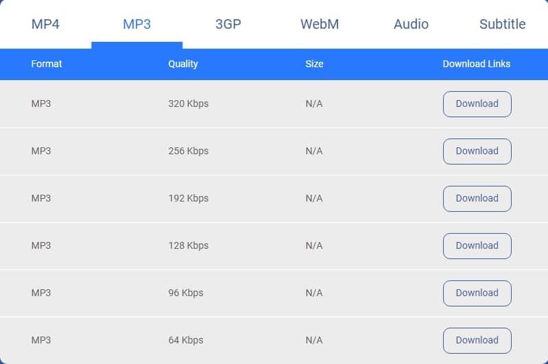 Download mp3 files using vidpaw