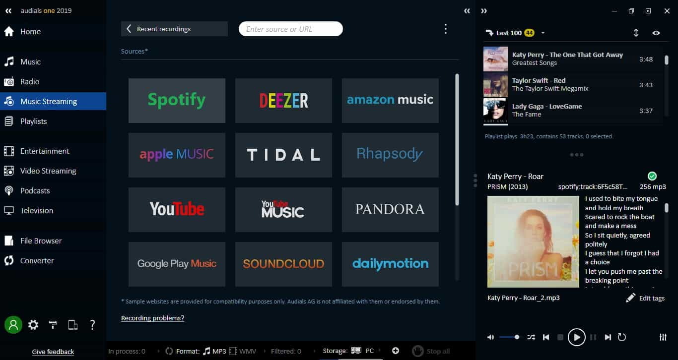 Popular music streaming sites