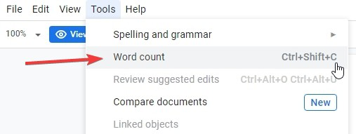 View word count in google docs