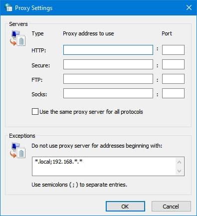 Windows proxy server setup