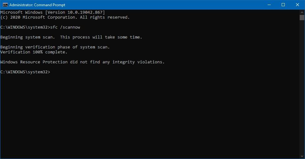 System file scan completion result