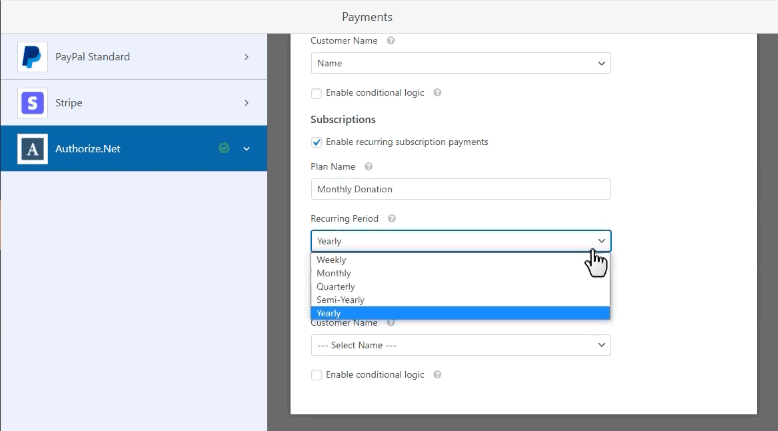 One time and recurring payments in authorize.net addon